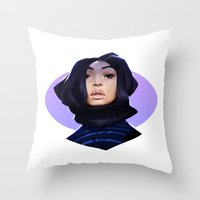 asian Throw Pillows featuring Asian by Max Grecke