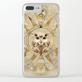 Owl Sacred Geometry Digital Art Clear iPhone Case