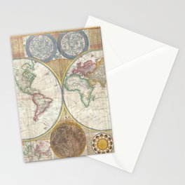 Map of the World in Hemispheres Stationery Cards