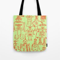 robots Tote Bags featuring Robots! by Paul McCreery