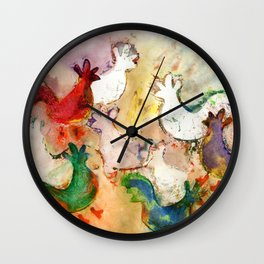Pecking Chickens Wall Clock