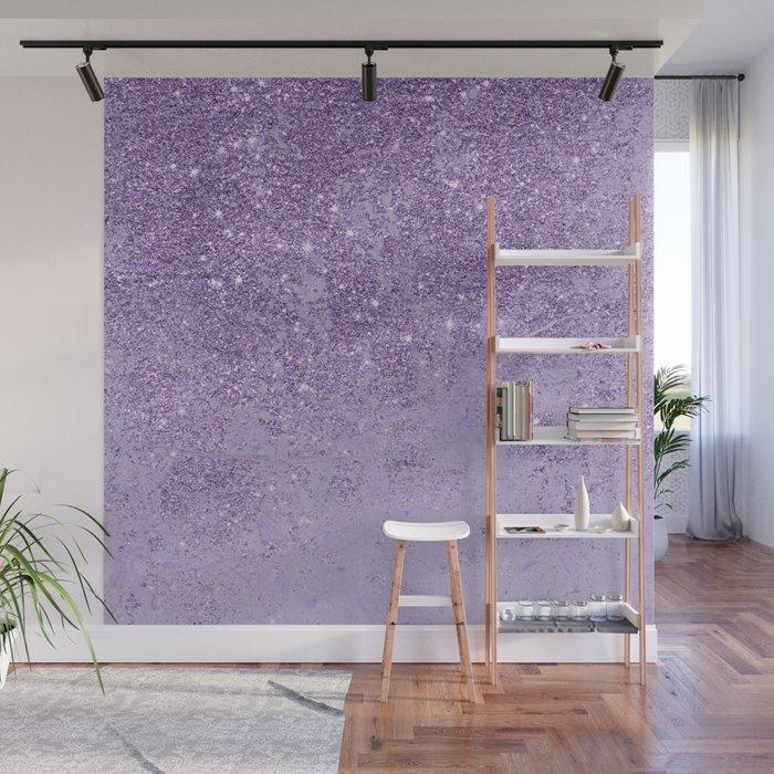 Modern elegant lavender lilac glitter marble Wall Mural