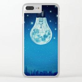 bulb moon night Clear iPhone Case