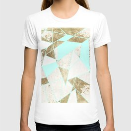 Modern Rustic Mint White and Faux Gold Geometric T-shirt