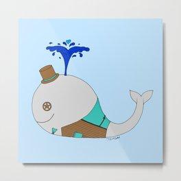 Steampunk Whale (Gray) Metal Print