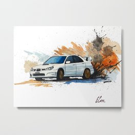 Watercolor Subaru WRX STi Drift Print Metal Print