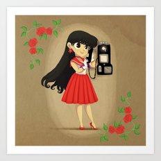 Retro Sailor Mars Art Print