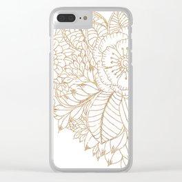 Elegant white faux gold glitter modern floral Clear iPhone Case
