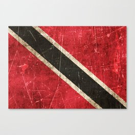 Vintage Aged and Scratched Trinidadian Flag Canvas Print