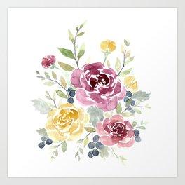 Fall Watercolor Flowers Art Print