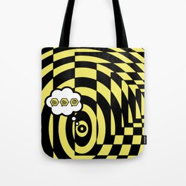 optical visual illusion thinking cloud of black and white chess board tunnel op art  Tote Bag