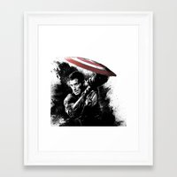steve rogers Framed Art Prints featuring Steve Rogers: Shadow Edition by NKlein Design