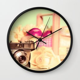 Film Camera and Rose (Retro and Vintage Still Life Photography)  Wall Clock