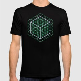 Sacred Geometry - glowing energy lines - cube and flowers T-shirt