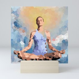 Feminine energy. A woman meditates in the Lotus position. Abstract painting. Mini Art Print