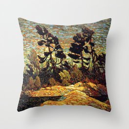 Tom Thomson - Summer Shore, Georgian Bay  - Canada, Canadian Oil Painting - Group of Seven Throw Pillow