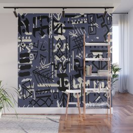 Ethnic Style Sketch black,white on indigo large print Wall Mural