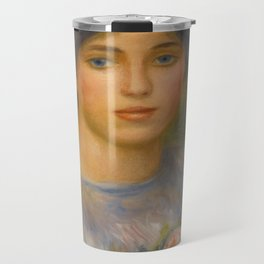 """Auguste Renoir """"Jeune fille aux roses (Young girl with flowers)"""" Travel Mug"""