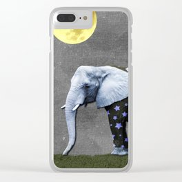 Elephant Under the Moon Clear iPhone Case