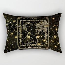 """Tarot """"The moon"""" - gold - cat version Rectangular Pillow"""