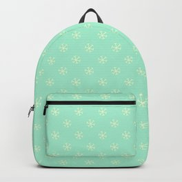 Cream Yellow on Magic Mint Green Snowflakes Backpack