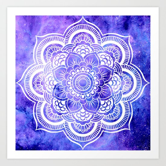 Mandala Violet Blue Galaxy Space Art Print