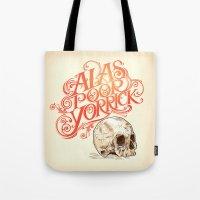hamlet Tote Bags featuring Hamlet Skull by Rachel Caldwell