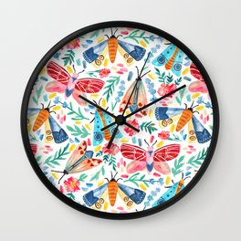 Moth Confetti Wall Clock