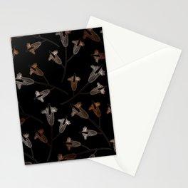 Black floral pattern flower Stationery Cards