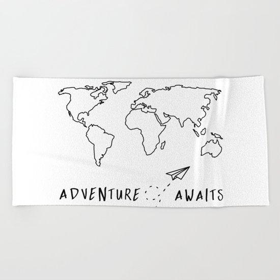Adventure Map on White Beach Towel