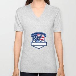 Forestry Cutter USA Flag Badge Unisex V-Neck