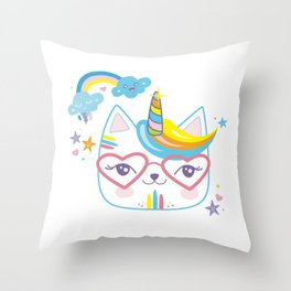 caticorn unicorn crazy cat lady unicat gift kawaii tee shirt Throw Pillow