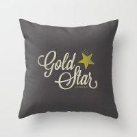 lesbian Throw Pillows featuring Gold Star Lesbian by ElekTwick