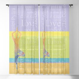 Simple silhouette of woman doing yoga with word Love in different languages Sheer Curtain
