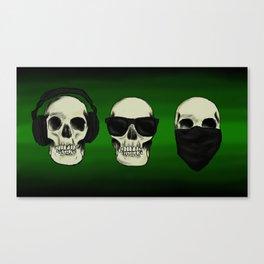 Hear No Evil, See No Evil, Speak No Evil Skulls Canvas Print