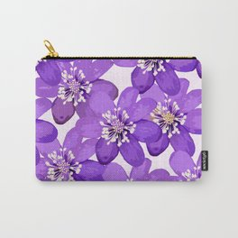 Purple wildflowers on a white background - spring atmosphere Carry-All Pouch