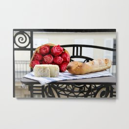 French Baguette and Cheese on a Paris Balcony Metal Print