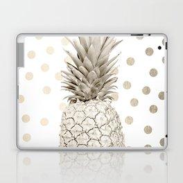 Gold Pineapple Polka Dots 1 Laptop & iPad Skin