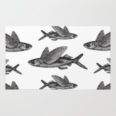 Flying Fish | Black and White Rug