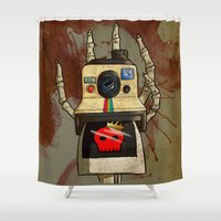 polaroid Shower Curtains featuring Vintage Polaroid by Bloody Kingdom