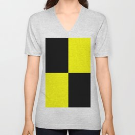 Big mosaic yellow black Unisex V-Neck