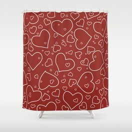 Red and White Hand Drawn Hearts Pattern Shower Curtain