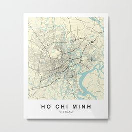 Ho Chi Minh Vietnam City Map Metal Print