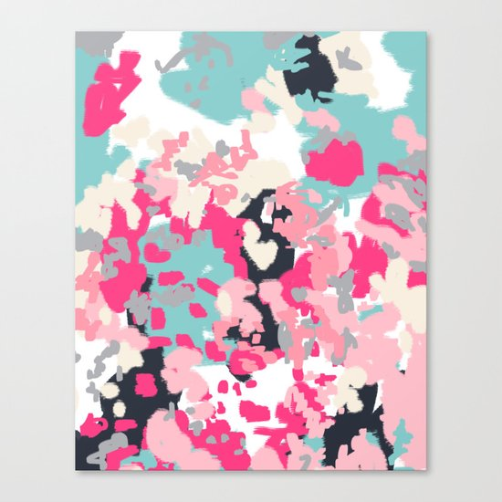 Addison - abstract minimal painting perfect gift valentines day hot pink love Canvas Print