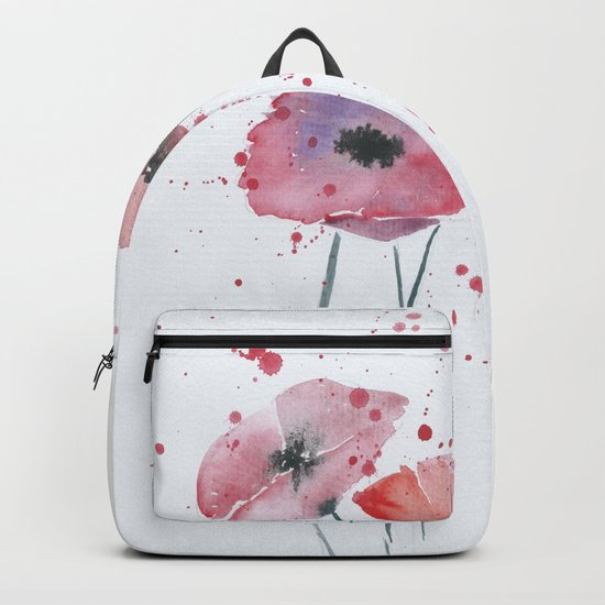 Red poppy flowers watercolor painting Backpack