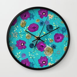 Violet large floral print on turquoise Wall Clock