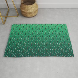 Black Greyhounds Playground Pattern - Shoes and Toys - Green Theme Rug