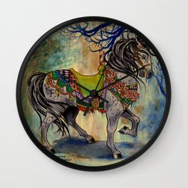 Victorian Gothic Carousel Horse in Forest Wall Clock