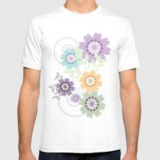 Flowers and Swirls White MEDIUM Mens Fitted Tee