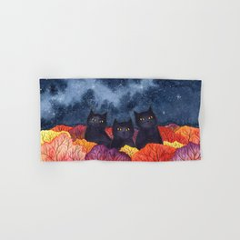Three Black Cats in Autumn Watercolor Hand & Bath Towel